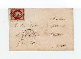 Sur Enveloppe Pour Uzès Timbre Second Empire 80 C. Rose Oblitéré Losange Petits Chiffres. CAD Lyon 1859. (1055x) - 1849-1876: Classic Period