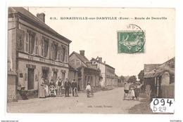 094 FRD27 MORAINVILLE SUR DAMVILLE ROUTE DE DAMVILLE CARTE DECOLLEE DANS LES ANGLES SUPERIEUR - Francia