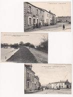 Lot 3 CPA Animées 1915 BOUAYE : Bas De La Place - Bords Lac, Chaussée Et Maison Du Garde - Place Prise De La Grande Rue - Bouaye