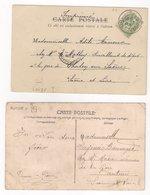 AUTUN  : 2 Cartes De 1901 & 1909 : Boite Rurale E & Boite Urbaine B : Saône Et Loire : - Marcophilie (Lettres)