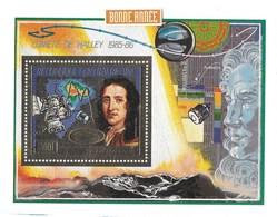 COMETE DE HALLEY 1985-1986 REPUBLIQUE CENTRAFRICAINE FEUILLE D'OR - Astronomie