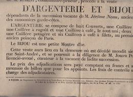Affiche Nantes 30 Avril 1821 - Vente Argenterie Et Bijou Succession Jerome Neau Capitaine Garde Cotes - Posters