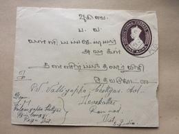 BURMA George VI Cover - 1941 Uprated Stationary 1 Anna Pyinbongyi To Devakottai India - Birmanie (...-1947)