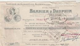Lettre Change Illustrée 16/8/1951 BARBIER DAUPHIN Conserves Alimentaires AIX En Provence  Suppo Montaigu De Quercy T & G - Lettres De Change