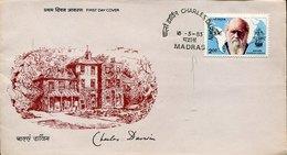 42139 India  Fdc  1983  (madras) Charles Darwin, Naturalist  Biologist  Geologist - Celebridades