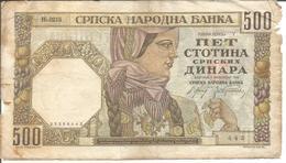 SERBIA (GERMAN OCCUPATION WWII) 500 DINARA 01/11/1941 - Serbie
