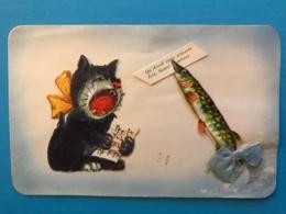 Carte Fantaisie - Poisson D'avril - Chat - Decoupis Et Ajoutis - Cats