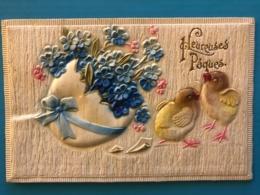 Carte Epaisse Style Velours - Poussins Et Oeuf De Paques - Fancy Cards
