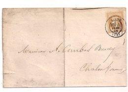 AUTUN  : Cachet Type 17 Sur 10c Empire Lauré , Lettre De 1869 : Saône Et Loire : - Marcophilie (Lettres)