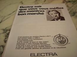 ANCIENNE PUBLICITE MONTRE ELECTRA 1968 - Bijoux & Horlogerie