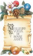 MEILLEURS VOEUX DE BONNE ANNEE  - CARTE COULEUR DECOUPEE AVEC FLEURS ET POMMES DE PIN - VOYAGEE - New Year