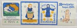 BORNE HIAELPS DAGEN  12 MAGGIO 1914    ERINNOFILO ETICHETTA PUBBLICITARIA  TRITTICO - Francobolli