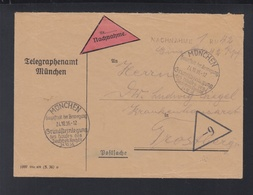 Dt. Reich Nachnahmebrief Telegraphenamt München Sonderstempel Hauptstadt Der Bewegung - Germany