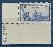 """FR YT 426 """" Exposition De New-York """" 1939 Neuf** BDF Daté - Ongebruikt"""