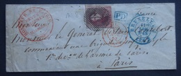 BELGIE     Nr. 8   Op Briefomslag  Brussel / Paris   Zie Stempels   CW  + 200,00 - Entiers Postaux