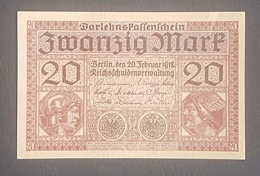 EBN8 - Germany 1918 Banknote 20 Mark Pick 57 WWI - A-UNC - [ 2] 1871-1918 : German Empire