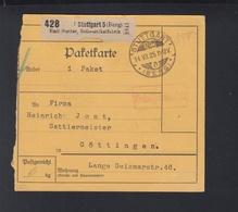 Württemberg Paketkarte Stuttgart 1925 - Wurtemberg