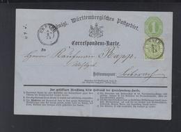 Württemberg GSK Mit ZuF Erbach 1873 Gefaltet - Wurtemberg