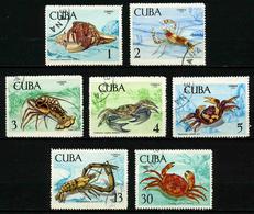 CUBA - ANIMAUX CRUSTACES - YT 1275 à 1281 - SERIE COMPLETE 7 TIMBRES OBLITERES - Crustaceans