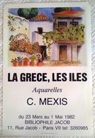 AFFICHE ORIGINALE ANCIENNE LA GRECE LES ILES 1982 Aquarelles C. Mexis - Affiches