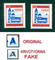 Croatia 1993 Occupation RSK Serbian Krajina 100.000 Overprint ORIGINAL And FAKE Denomination Michel 21 - Croazia