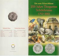 Austria-2002-5 Euro Zoo In Argento.FDC, In Blister - Austria