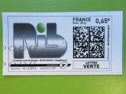 Montimbrenligne - SAS RIB - 3 Impasse Louis De Broglie - Gena (69) - LV Max 20 G - 0,65 € - Sur Fragment - 16.12.2015 - France
