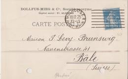 France Carte Avec Timbre Perforé 1925 Scan R/V. - Perforés