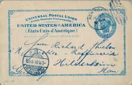 1901 , ESTADOS UNIDOS , ENTERO POSTAL CIRCULADO , NEW YORK - HILDESHEIM , LLEGADA - Enteros Postales