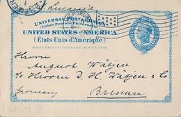1900 , ESTADOS UNIDOS , ENTERO POSTAL CIRCULADO , VICKSBURG - BREMEN , LLEGADA - Enteros Postales