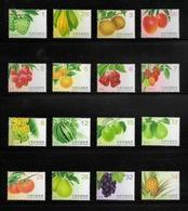 Complete Series 2016-2017  Taiwan Fruit Stamps (I-IV) Papaya Banana Orange Grape Tomato Pineapple Post - Post