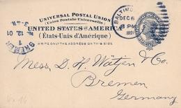 1901 , ESTADOS UNIDOS , ENTERO POSTAL CIRCULADO , BALTIMORE - BREMEN , LLEGADA - Ganzsachen