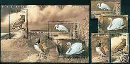 MOLDOVA 2003 FAUNA BIRDS  ENDANGERED BIRDS  SWANS, EAGLE ... MNH SET + S/S - Cygnes