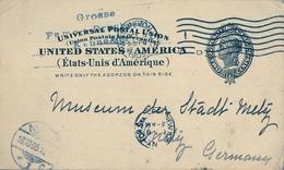 1905 , ESTADOS UNIDOS , ENTERO POSTAL CIRCULADO , WASHINGTON - METZ , TRÁNSITO DE NEW YORK , LLEGADA - Postal Stationery