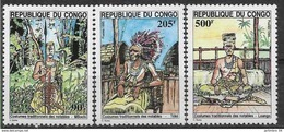 1995 CONGO Brazzaville 1001-03** Costumes, Coutumes - Nuevas/fijasellos