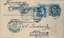 1882 , ESTADOS UNIDOS , ENTERO POSTAL CIRCULADO , NEW YORK - ALTONA , TRÁNSITO HAMBURGO , LLEGADA , FR. COMPL. - Interi Postali