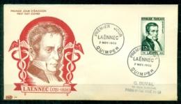 "FDC ""Edition PAC "" FRANCE-1952 # Laennec , PJ Quimper    (N°Yvert 936 )  - Cote 14,,00 Euros - FDC"