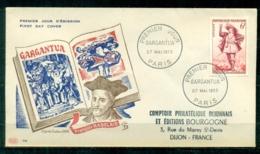 "FDC ""Edition PAC "" FRANCE-1953 # ""Gargantua"" De Rabelais, PJ Paris   (N°Yvert 942 )  - Cote  13.00 Euros - 1950-1959"