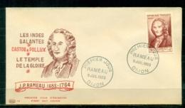 "FDC ""Edition PAC "" FRANCE-1953 # J.P. Rameau, Compositeur , PJ Dijon   (N°Yvert 947 )  - Cote  18,00 Euros - 1950-1959"