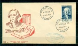 """FDC """"Edition PAC """" FRANCE-1953 # Monge, Comte De Péluse , PJ Beaune    (N°Yvert 948 )  - Cote  15,00 Euros - 1950-1959"""