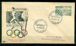 "FDC ""Edition  PAC "" FRANCE-1953 # Sport - JO D' Helsinki - Athlétisme  - PJ Paris  (N°Yvert 961  )  Cote Yvert  17,00 € - 1950-1959"