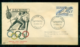 "FDC ""Edition  PAC "" FRANCE-1953 # Sport - JO D' Helsinki - Escrime   - PJ Paris  (N°Yvert 962  )  Cote Yvert  20,00 € - 1950-1959"