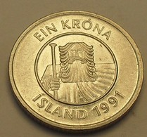 1991 - Islande - Iceland - 1 KRONA - KM 27a - Islande