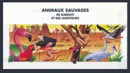 DJIBOUTI 2000 SHEET WILD ANIMALS ANIMAUX SAUVAGES APES MONKEYS BIRDS PARROTS PERROQUETS SNAKES REPTILES AUTRUCHE MNH - Straussen- Und Laufvögel