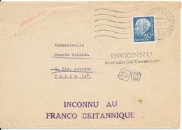 Germany Cover Sent To France 30-9-1958 (Inconnu Au Franco Britannique) - [7] Federal Republic