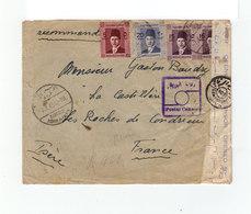 Sur Env. Pour La France Ouverte Censure 4 Timbres CAD Ismailia 1945. Cachet Postal Censor. Egyptian Censorship. (1062x) - Ägypten