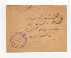 Sur Env. Cachet Du Commandant Du Dépot De Convalescents Sénégalais De Menton. CAD Menton 1917. F.M. (1063x) - Guerre De 1914-18