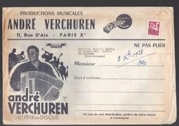 Paris 10e: Rue D'Aix: :: Enveloppe D'expédition Partitions De Musique ANDRE VERCHUREN 1958 (PPP10162) - Advertising