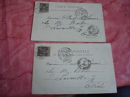 1900 Lot De 2 Paris Exposition Iena Et Invalides Obliteration Sur Carte Exposition - Poststempel (Briefe)