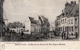 Ninove -  1845 - Le Marché Aux Grains Et La Rue Longue Monnaie - Gravure Hoolans - Ninove